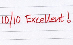 Ten out of 10 excellent written in red ink.